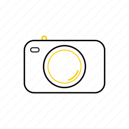camera, outline, season, summer, yellow icon