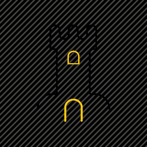 castle, outline, season, summer, yellow icon