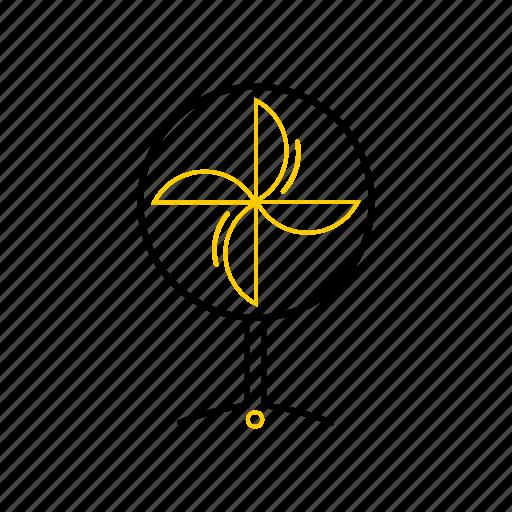 fan, outline, season, summer, yellow icon