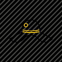 hat, outline, season, summer, yellow icon