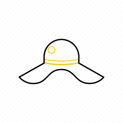 hat, outline, season, summer, yellow icon