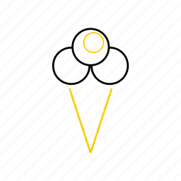 icecream1, outline, season, summer, yellow icon