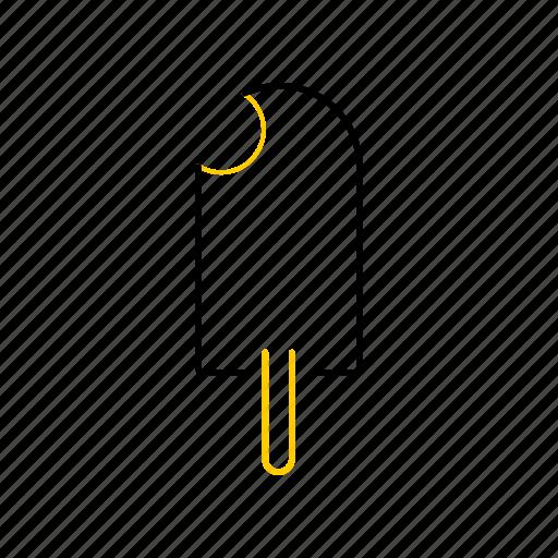 icecream2, outline, season, summer, yellow icon