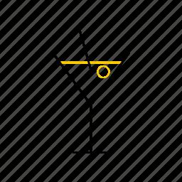 juice, outline, season, summer, yellow icon
