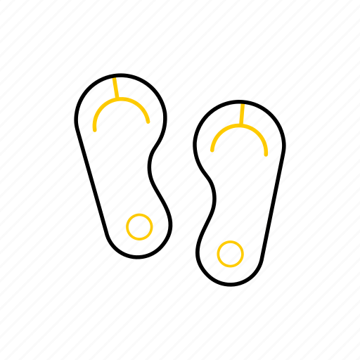 outline, sandal, season, summer, yellow icon
