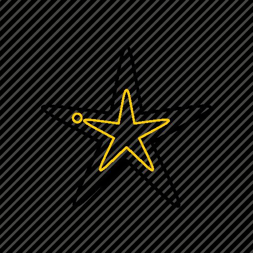 outline, season, starfish, summer, yellow icon