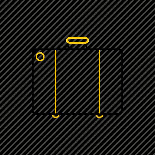 outline, season, suitcase, summer, yellow icon