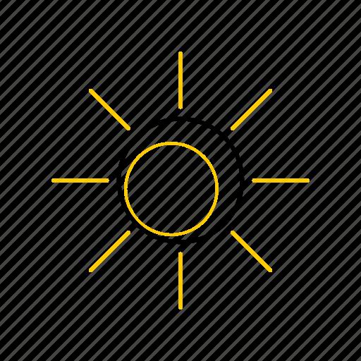 outline, season, summer, sun, yellow icon