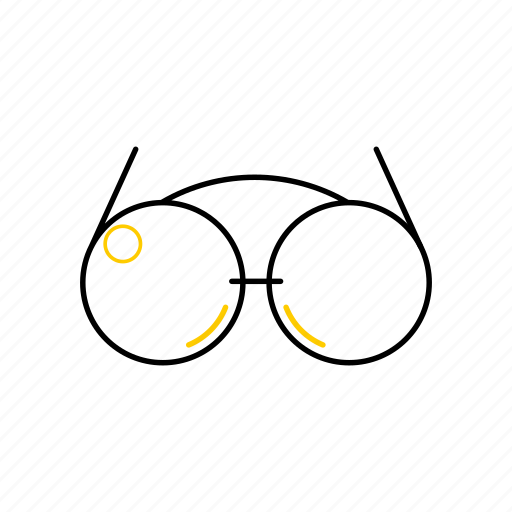outline, season, summer, sunglasses, yellow icon