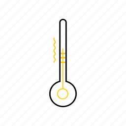outline, season, summer, thermometer, yellow icon