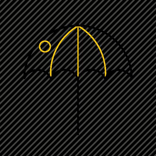 outline, season, summer, umbrella, yellow icon