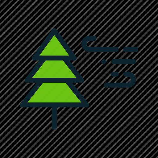 breeze, christmas, snow, storm, tree, wind, winter icon