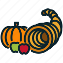 autumn, cornucopia, fruits, halloween, harvest, pumpkin, thanksgiving icon