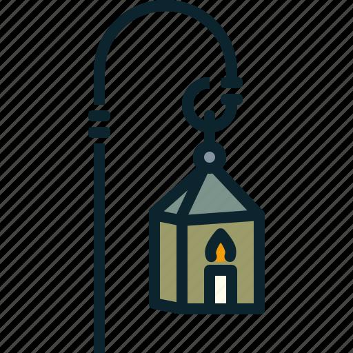 candle, flame, lantern, light, street icon