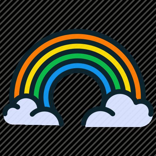cloud, colorful, rainbow, spring, sun, vibrant icon