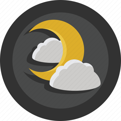 clouds, dark, moon, night icon