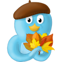 bird, fall, leaves