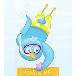 bird, diving, scuba, twitter icon