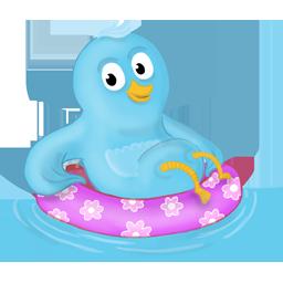 bird, pool, twitter icon