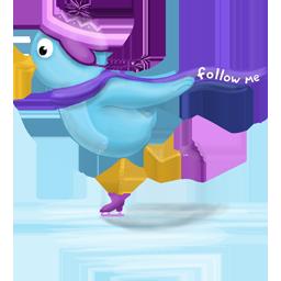 bird, skate, twitter icon