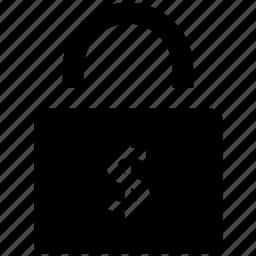 dollar sign, finance security, insurance, lock, safe banking, savings, shielding icon