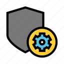 configuration, protection, security, setting, shield icon