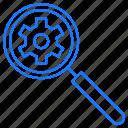 gear, search, setting icon
