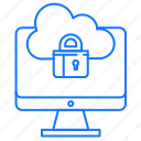 cloud, locked, monitor, security icon
