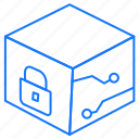 box, cube, locked icon