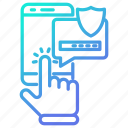 mobile, online, protection, safety, security, smartphone icon