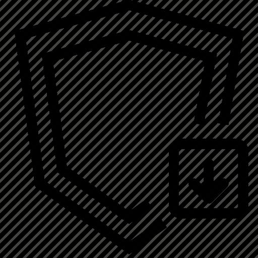 arrow, down, security, shield icon