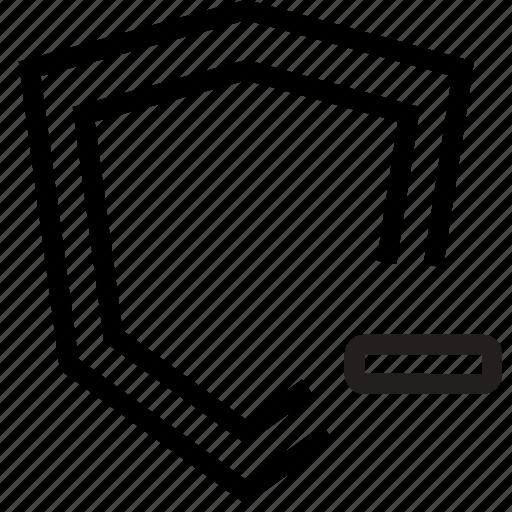 minus, remove, security, shield icon
