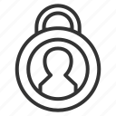 account, lock, protect, security, shield icon