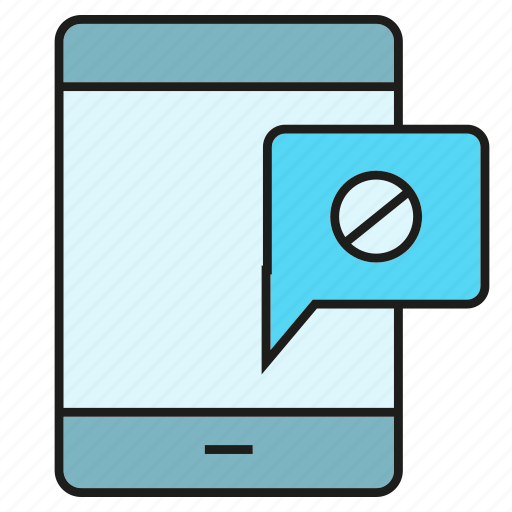 ban, block, message, mobile, phone, security, warning icon