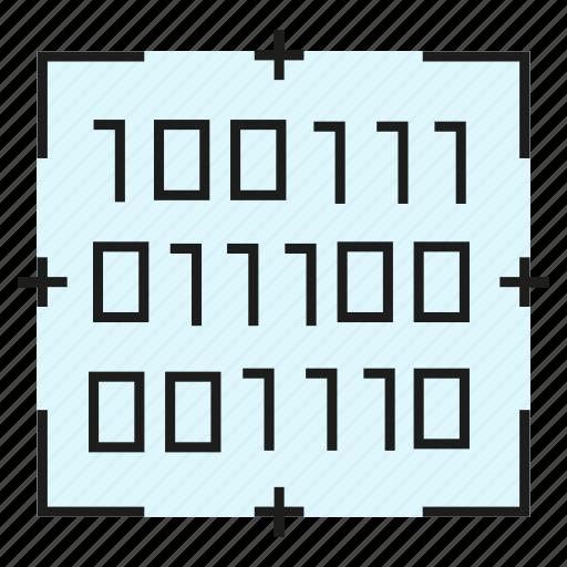 Binary, security, digital, compute, scan icon