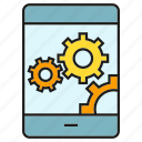 cog, gear, mobile, operation system, phone icon