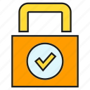 approve, check, key, lock, protect, security icon