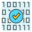 approve, binary, check, pass, protect, scan, security icon