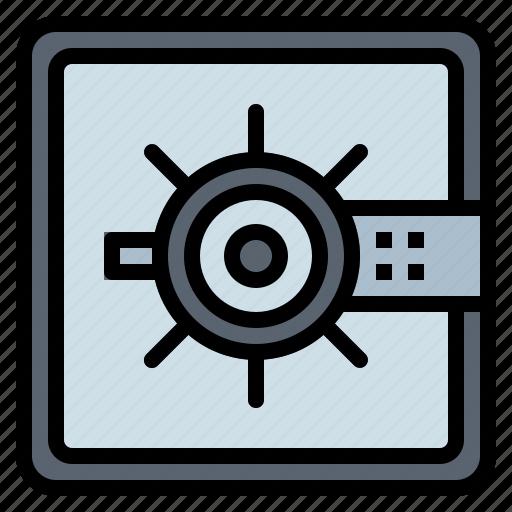 bank safe, banking, savings, security icon