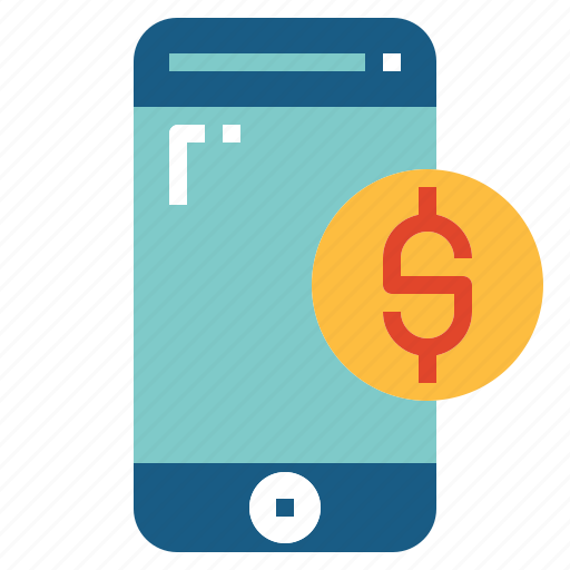 business, currency, mobile banking, smartphone icon