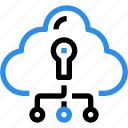 cloud, data, database, network, padlock, secure, security icon