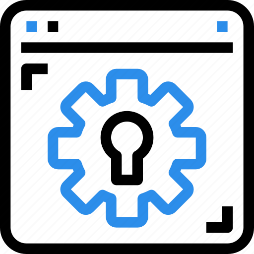 browser, gear, interface, process, secure, security icon