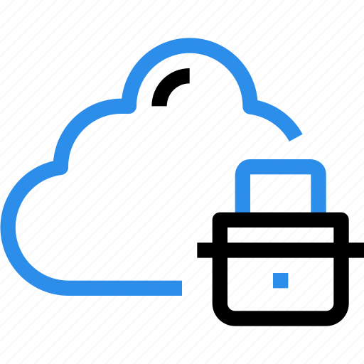 cloud, data, database, padlock, safety, secure, security icon
