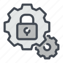 cogwheel, gear, lock, padlock, password, protection, security