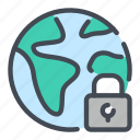 earth, globe, lock, padlock, password, protection, security icon