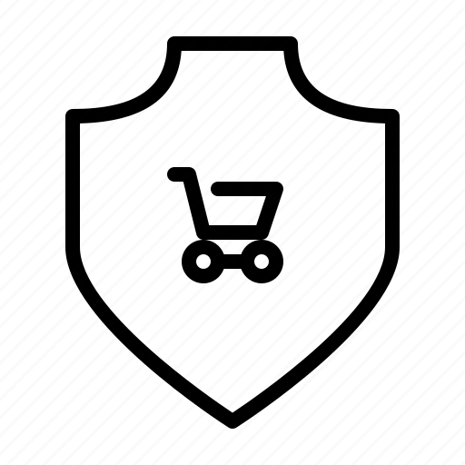 cart, protection, safety, secure, security, shield, shopping icon