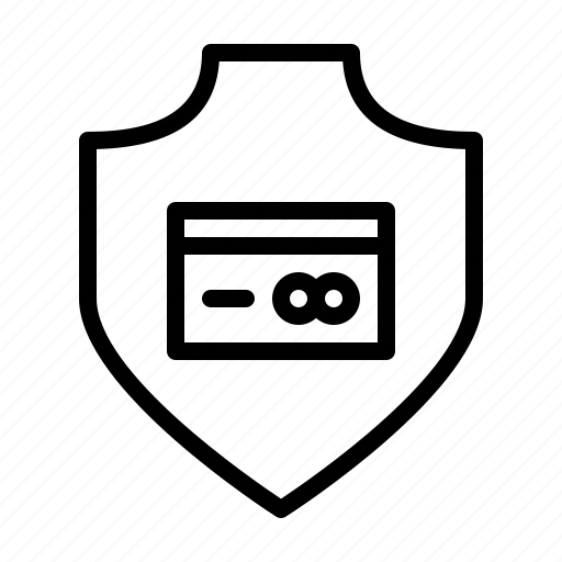 card, credit, protection, safety, secure, security, shield icon