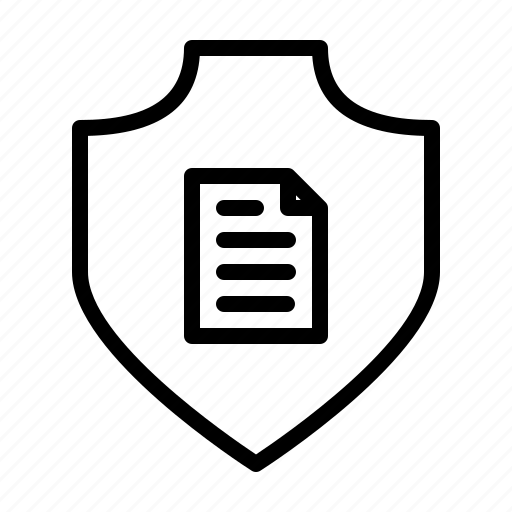 document, protection, safety, secure, security, shield icon