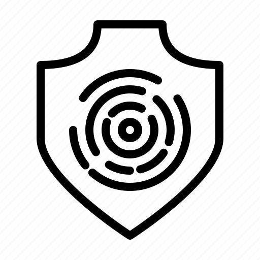 fingerprint, protection, safety, secure, security, shield icon