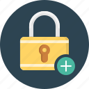 add, lock, new lock, padlock, pass code, protection, security icon
